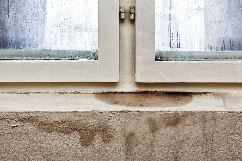 water damage by window